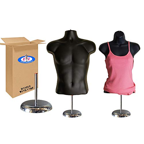 """Male + Female Mannequin Torso by EZ Mannequins, Dress Form Body Display Stand, Easy Set Up and Transport, Great for Indoor Or Outdoor Table Products, Deluxe 8"""" Metal Base. (Black)"""