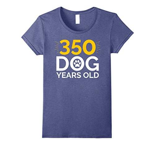 Womens 50th Birthday Gift Shirt, Funny 350 Dog Years Old T-Shirt Medium Heather Blue