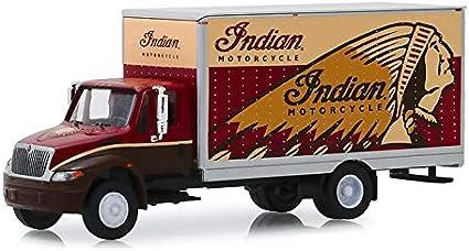 INTERNATIONAL DURASTAR BOX VAN INDIAN MOTORCYCLE 1//64 DIECAST GREENLIGHT 33170 A