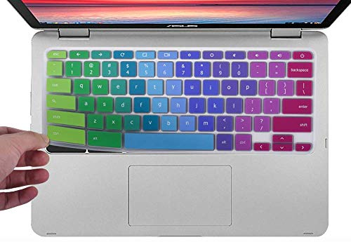 (Colorful Keyboard Cover Compatible 2019 2018 ASUS Chromebook C523NA 15.6