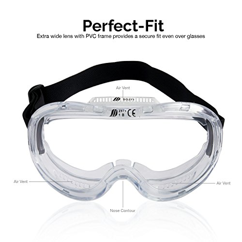 Neiko 53875B Protective Anti-Fog Safety Goggles Eyewear with Wide-Vision, ANSI Z87.1 Approved | Adjustable & Lightweight