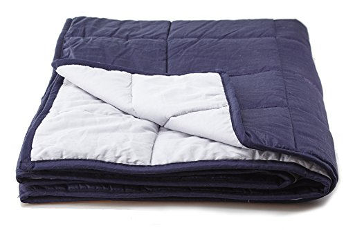 "Weighted Blanket Sensory Solutions for Adults and Kids | Size Large 15 lbs 48"" X 72"" Navy Blue 