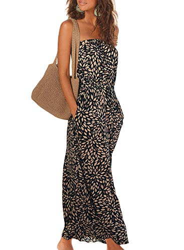 Happy Sailed Womens Summer Strapless Maxi Dress Pleated Casual Party Tribal Beachwear Dresses with Pockets Large Black