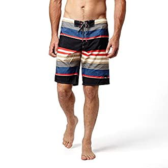 O'Neill Men's Santa Cruz Striped Boardshorts, Size 36, Black/Charcoal Blue