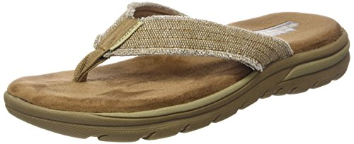 Skechers USA Men's Bosnia Flip-Flop,Tan,11 M US