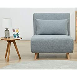 Farmhouse Living Room Furniture GIA Tri-Fold Sofa Bed, With Pillow, Light Gray farmhouse sofas and couches