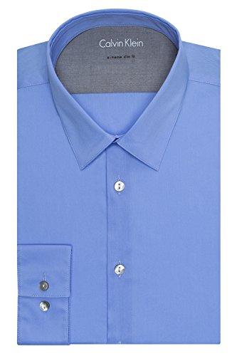 Calvin Klein Men's Stretch Xtreme Slim Fit Solid Point Collar Dress Shirt, Blue Ice, 17
