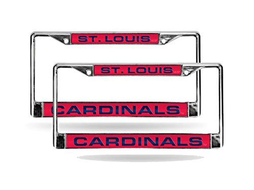 (Rico St Louis Cardinals MLB (Set of 2) Chrome Metal Laser Cut License Plate Frames)