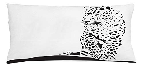 Lunarable Jaguar Throw Pillow Cushion Cover, Black Jaguar Figure in Abstract Style Spotty Animal Skin Savannah Fauna Theme, Decorative Square Accent Pillow Case, 36 X 16 Inches, Black and White
