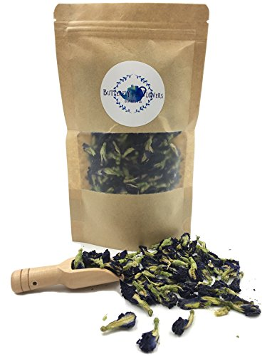 (Pure Dried Butterfly Pea Flowers Blue Tea Clitoria Flower Herbal Retreat 100% Organic Nontoxic, GMO Free, 1.80 Oz. Safe And Healthy in Zipper Bag Packaging Get Free a Wooden Scoop Spoon)