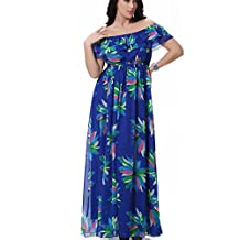 Greenis Women Dress Bohemia Dress Long Floral Printed Chiffon Plus Size Blue