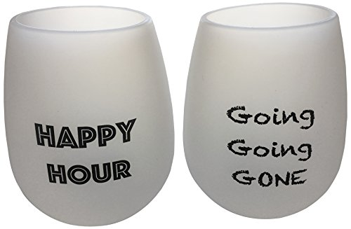 2 Wine Glasses Unbreakable Food Grade Silicone Funny and Durable Great Gift Idea Shatterproof Great for Beer Whiskey Cocktails or any Beverage Take Anywhere Outdoor Pool Camping Beach (Happy Time)