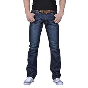 WUAI Men's Denim Classics Skinny Stretch Casual Jogger Regular Fit Athletic Jeans Deep Blue
