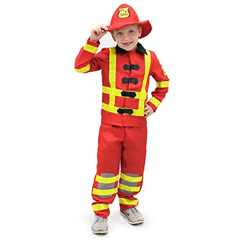 Firefighter Costumes For Girls (Flamin' Firefighter Children's Halloween Dress Up Theme Party Roleplay & Cosplay Costume, Unisex (S, M, L, XL) by Boo! Inc. (Youth Medium (5-6)))
