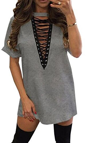 Cheap Sexy Outfits (UGET Womens's Deep V Neck Lace Up Front Short Sleeve Casual Loose T-Shirt Dress Asia M Gray)
