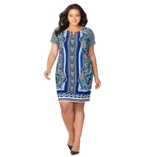 - Avenue Women's Mirror Print Hardware Sheath Dress, 22/24 Blue Print