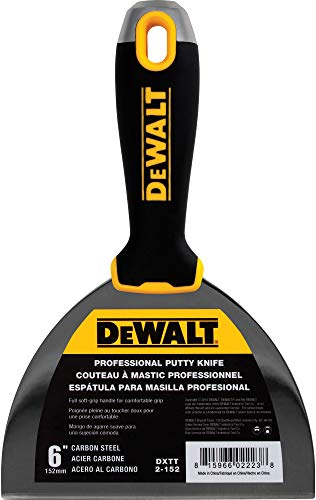 (DEWALT 6-Inch Putty Knife | Carbon Steel w/Soft Grip Handle | DXTT-2-152)