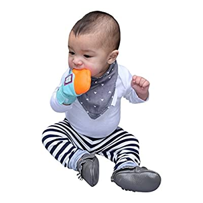 Yummy Mitt Teething Mitten- (Non-Glow) 3-12 Months Baby Self-Soothing Teething Mitt- BPA Free- 100% Certified Cotton (NOT Polyester) and Silicone, Blue : Baby