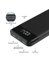 10400mAh Banco de energía USB C, delgado cargador delgado portátil de teléfono 10000 Carga rápida 5V 3A, 2 entradas 3 salidas Batería externa de respaldo compatible con iPhone, Samsung, teléfono celular (10000)