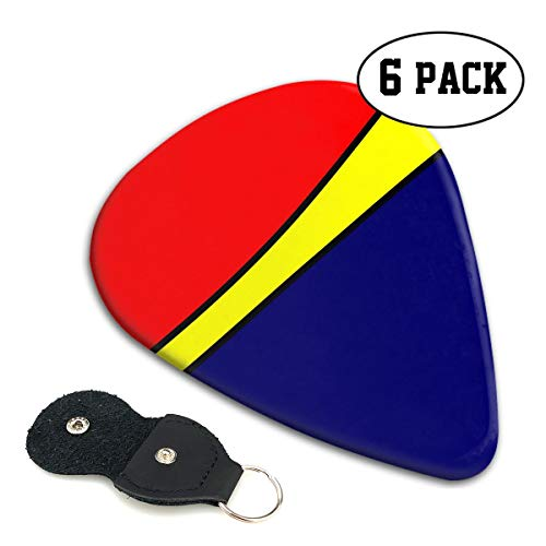 LXXTK Unique Blue Yellow Red Celluloid Guitar Pick 6 Pack - Music Gifts for Bass, Electric & Acoustic ()