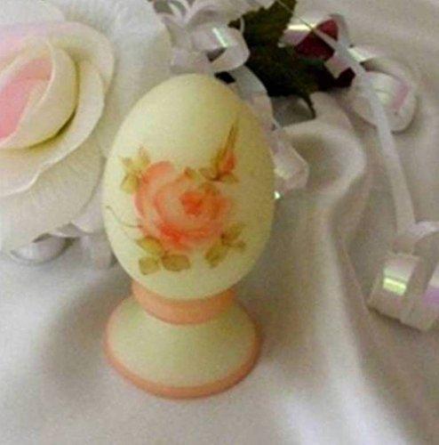 Judys Home Delights Fenton Art Glass Roses On Custard Pedestal Egg