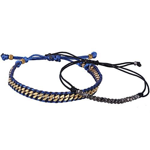 - KELITCH 2 Pcs Boho Metal Beads Chain Leather Bracelets Handmade Adjustable Friendship Bracelets Charm Jewelry (Gold Blue)