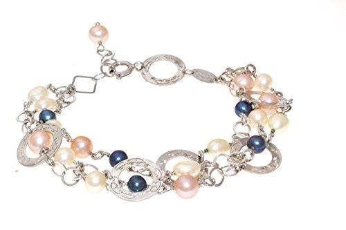 Bracelet, argent 925, plaqué rhodium avec perles multicolores en eau douce 19 cm, avec rond sérigraphié EveryDay (Made inItaly)