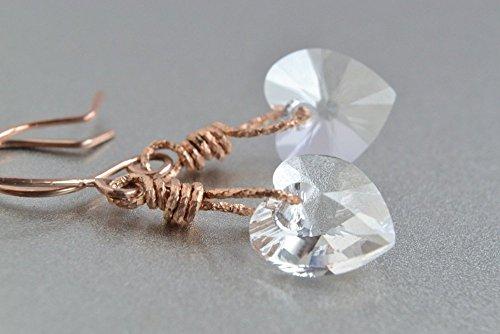 Happy Diamonds Heart Ring (Crystal Heart Earrings, 14K Rose Gold Filled)