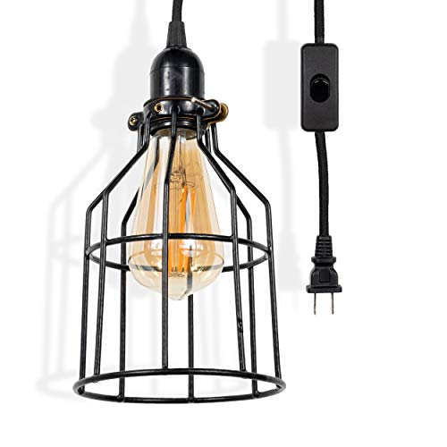 - Rustic State Decorative Metal Cage Pendant Lamp by Rustic State with 15 Feet Toggle Switch Cord and Vintage Edison Light Bulb in Black