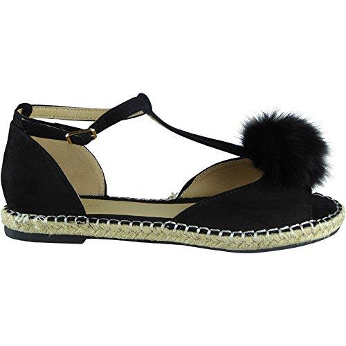 Fur Pom 3 8 Ladies Black Shoes Espadrilles Bar Womens T Sandals New Flats Size Peeptoe Pom wSHqIax