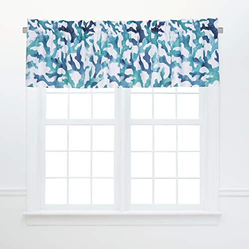 C&F Home Aqua Reef Coral Green Blue White Sea Life Coastal Tropical Beach Home Vacation Premium Window Valance Valance Blue
