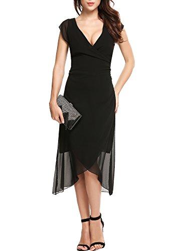 Fit Casual Loose Sheath Empire Waist Tea Length Dress(Black XS) ()