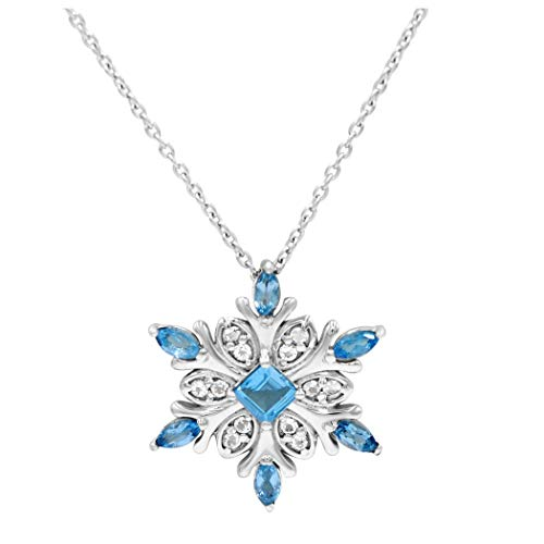 Amanda Rose Collection Swiss Blue and White Topaz Snowflake Pendant-Necklace in Sterling Silver