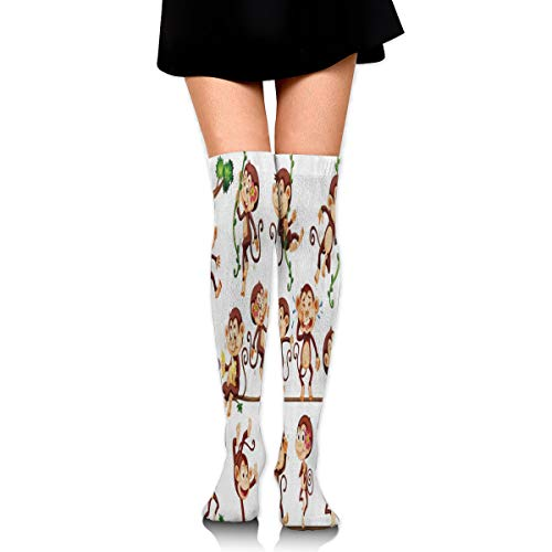 Captain Viking Women's Fashion High Socks Stockings Over The Knee Monkey Doing Different Actions Pretty