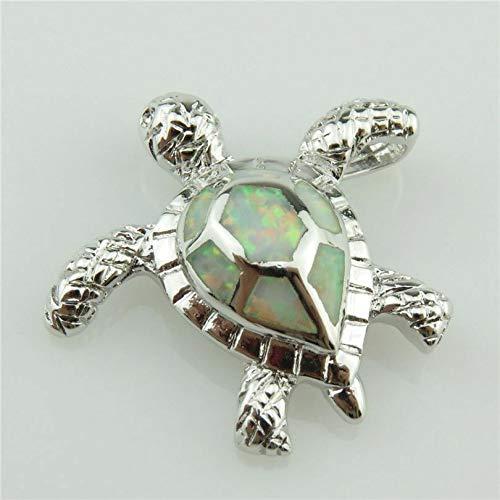 20323 Silver Animal Sea Turtle Tortoise White Lucky Real Australian Opal Pendant