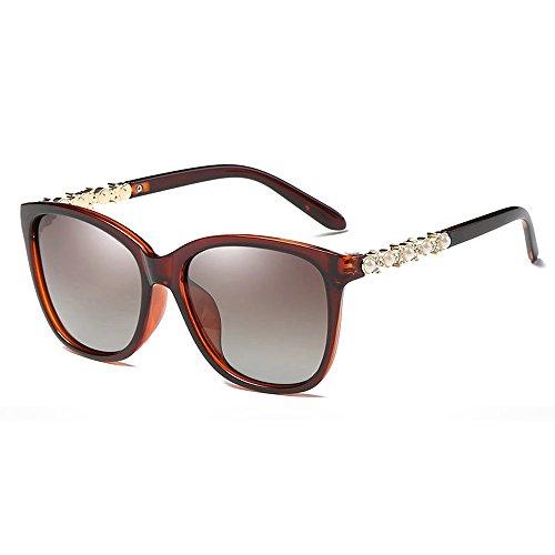 VeBrellen Fashion Women Oversized Polarized Sunglasses Pearl Decorated 100% UV400 Protection Eyewear (Dark Brown, 56) -