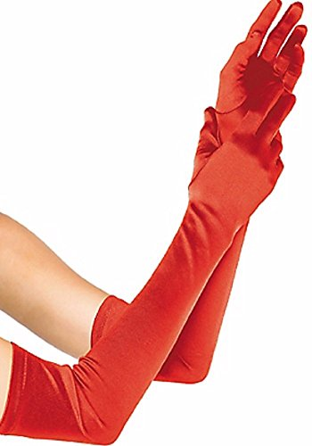 Adult Extra Long Red Satin Gloves - Red Extra Long Satin Gloves