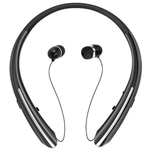 - Bluetooth Retractable Headphones, Wireless Earbuds Neckband Headset HD Stereo Earphones with Mic (Black)