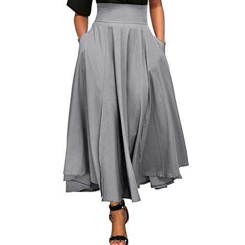 AmyDong Hot Sale! Ladies Dress, Women High Waist Pleated A Line Long Skirt Women's Half-Length Skirt With Straps and Waistband Pockets (L, Gray)