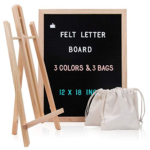 Changeable Letter Board with Letters, 12 x 18 Message Board with 748 Characters, Black Felt Board, Oak Wood Frame, Mounting Hook and 3 Free Storage Bag Perfect Gift