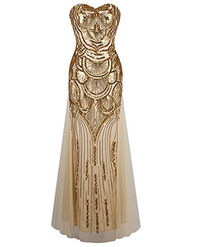 Whoinshop Women Long Strapless 1920s Gatsby Beaded Sequin Lace-up Back Maxi Prom Dress Gold M