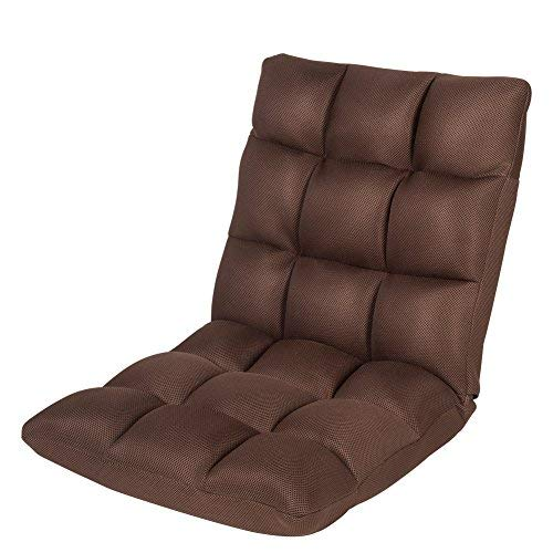 Sundale Outdoor Indoor Adjustable Soft-Brushed Polyester Cord Five-Position Multiangle Floor Chair,Dark Brown