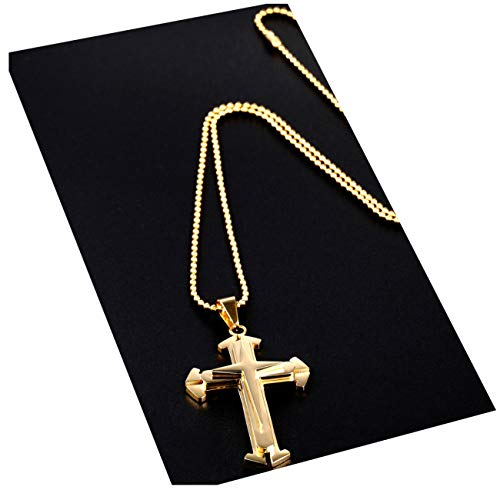 Cross Gold Crucifix and Necklace, 24K Overlay Beautiful Jesus with 24