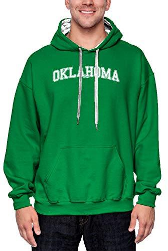 Oklahoma - State School University Sports Unisex 2-Tone Hoodie Sweatshirt (Kelly Green/White Strings, XX-Large)