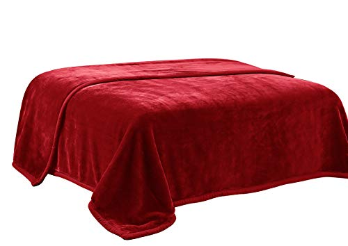 HIG Premium Thick Blanket with Double Layer Reversible Plush Raschel Blanket Burgundy Solid Color - Supersoft, Warm, Silky, Hypoallergenic, Fade Resistant in Queen Size (Queen, Red)