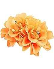 KeKeandYaoYao Brudblomma hårklämma dubbla blommor strass hårspänne hårnål bröllopsfest håraccessoar orange