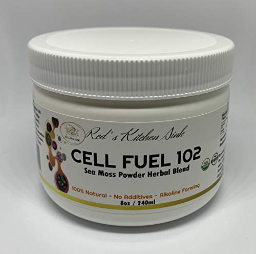 (Cell Fuel 102: Organic Sea Moss, Bladderwrack & Burdock Root Powder Herbal Blend - Natural Source of Collagen, Vitamins A, C, B12, Selenium & Zinc-Thyroid & Immunity Support - Dr. Sebi Inspired (8oz))