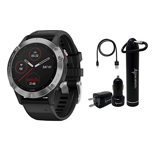 Garmin Fenix 6 Premium Multisport GPS Watch with Pulse Ox with Included Wearable4U Power Pack Bundle (Standard/Silver with Black Band)