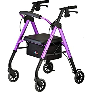 "NOVA Star 6 Rollator Walker with Perfect Fit Size System, Lightweight & Foldable, Easy to Lift & Carry, Great for Travel, Color Purple, Standard Approx. User Height: 5'4"" -6'2"""
