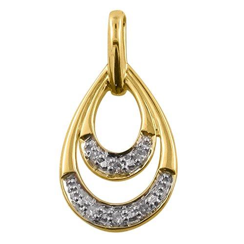 Diamant pendentif de mode 0.03 ct tw rond coupé or jaune 9K